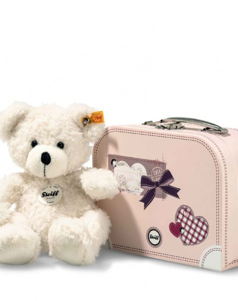 Steiff White Lotte Teddy Bear in Pink Suitcase. 28cm.